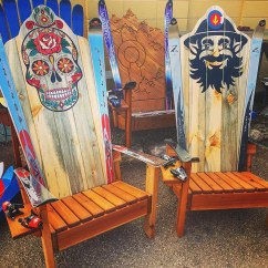Painted Adirondack Chairs La Z Boy Executive Office Chair Blue Sugar Skull Ski Hand