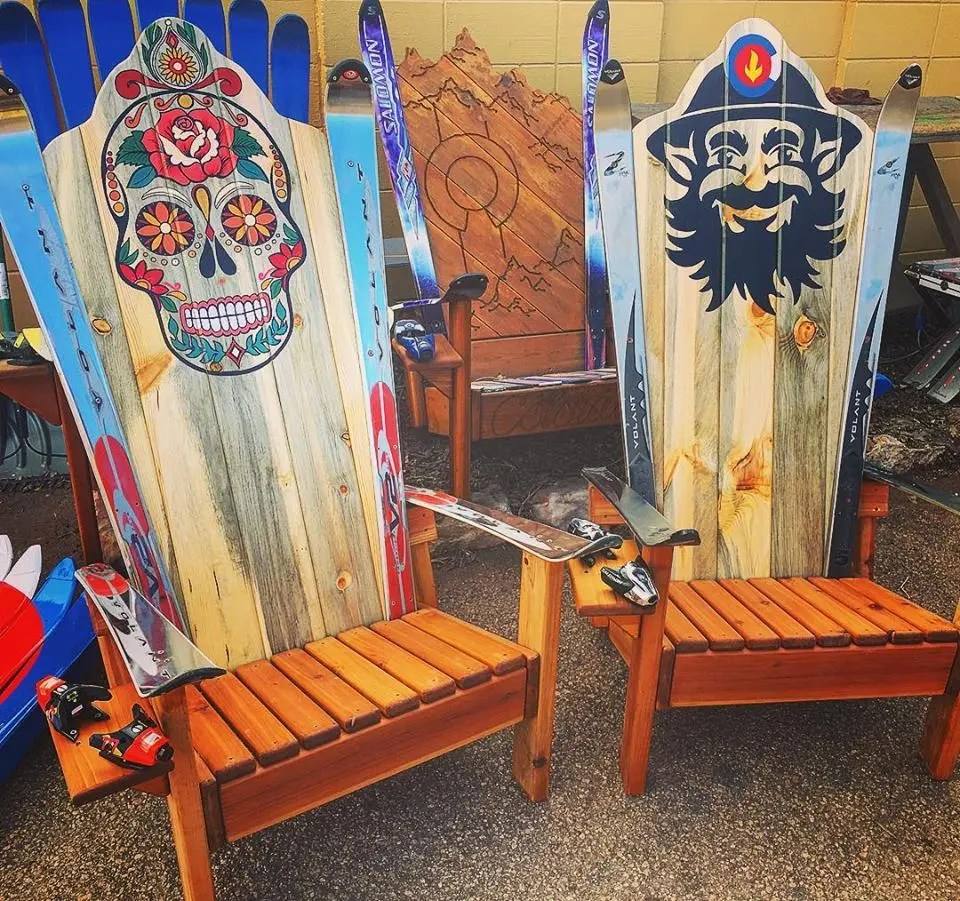 paint for adirondack chairs ergonomic chair green blue sugar skull ski hand painted