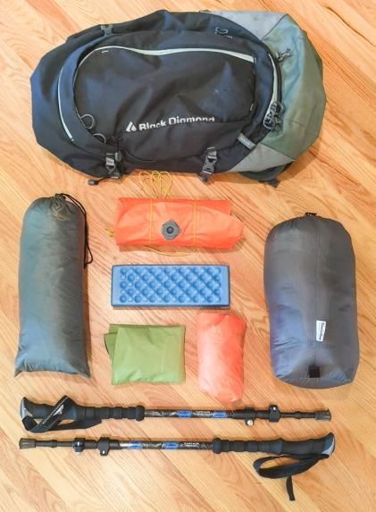 Hiker's gear laid out