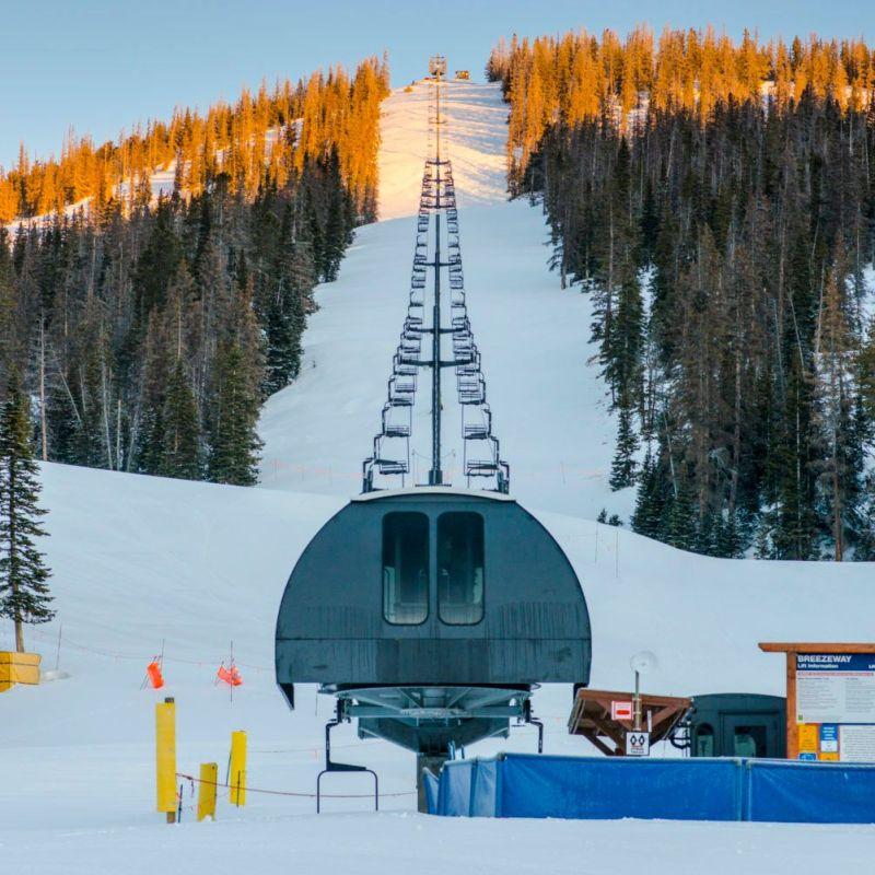 Sunrise of Monarch Mountain, a small ski area in Colorado