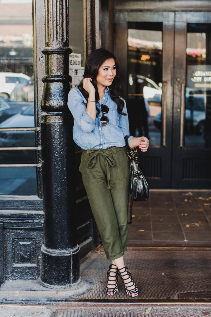 Autumn Tones Olive Trousers Amp Chambray Color Amp Chic