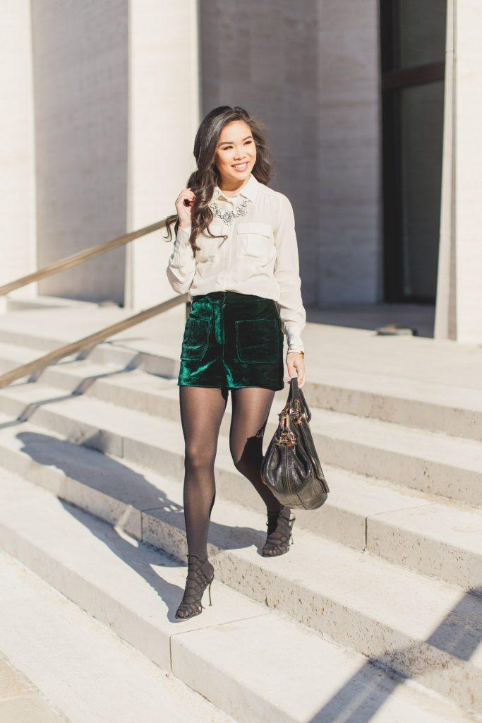 Elegant Textures  Velvet Shorts  Silk Blouse  Color  Chic