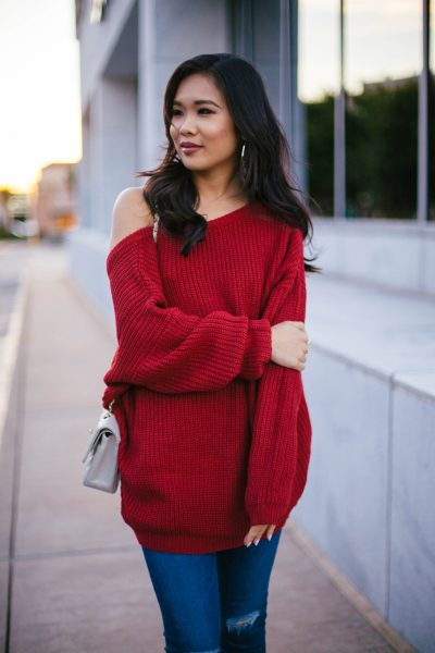 Fall Red :: Slouchy Sweater with Low Back - Color & Chic