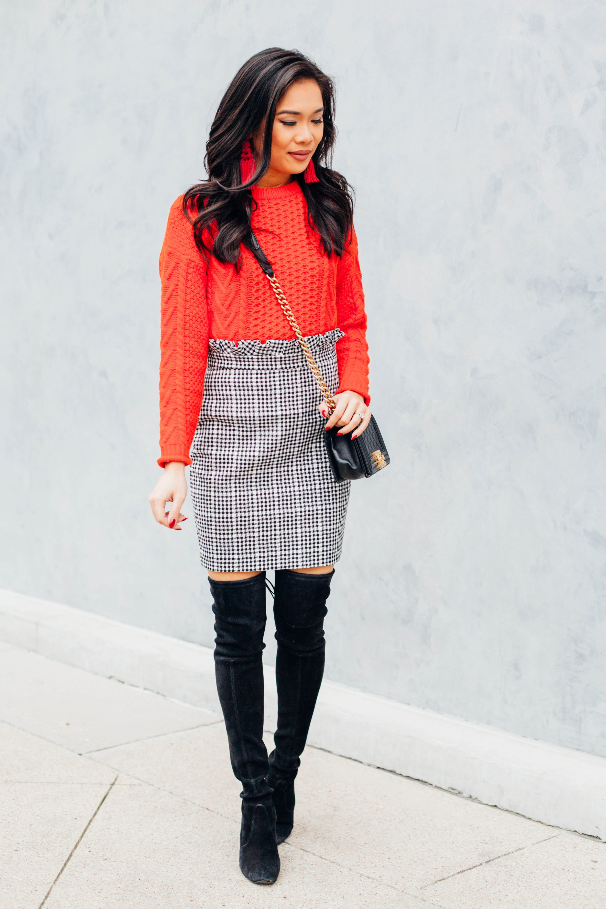Cable Knit Sweater Amp Paper Bag Mini Skirt Color Amp Chic