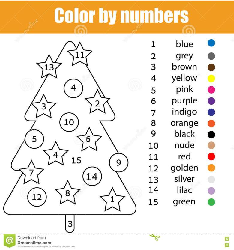 8 x 11 christmas coloring pages with page tree color by numbers