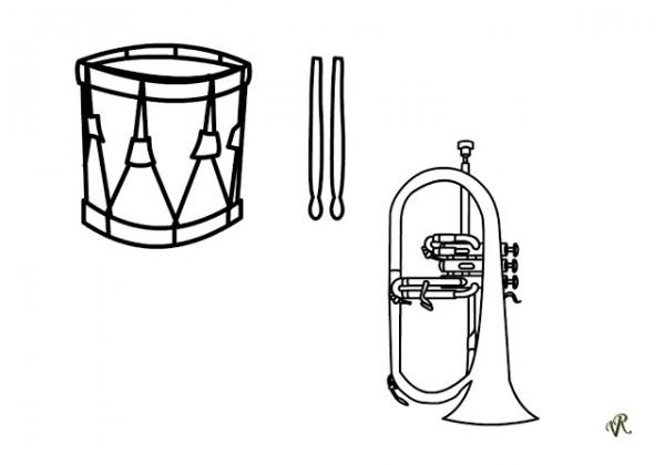 Instrumentos musicales para colorear y pintar  Colorear imgenes