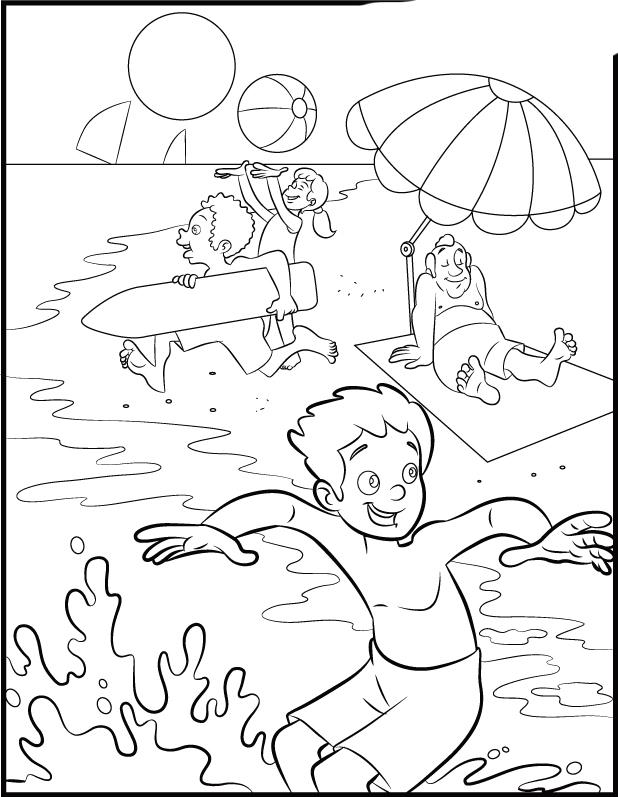 Dibujos de playa ,paisajes de la costa para colorear