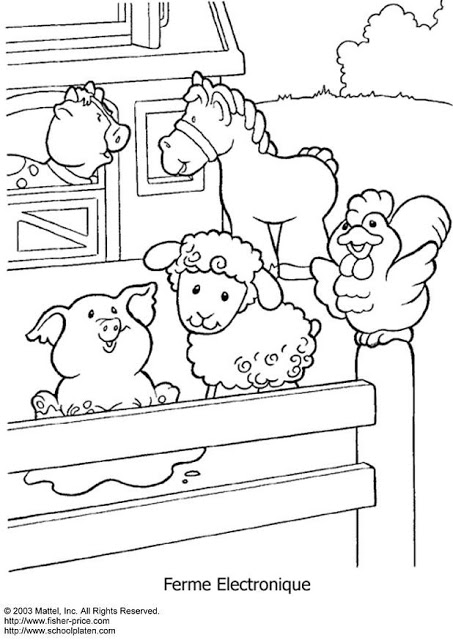 Dibujos infantiles de granjas con animales para pintar