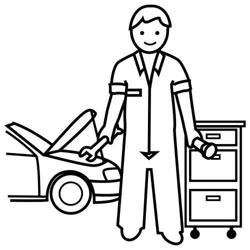 Dibujos del Día del Mecánico de autos para colorear
