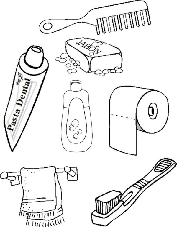 Dibujos de elementos de aseo personal para pintar