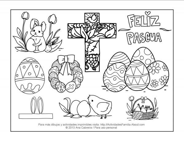 Carteles de Feliz Pascua para imprimir y colorear el