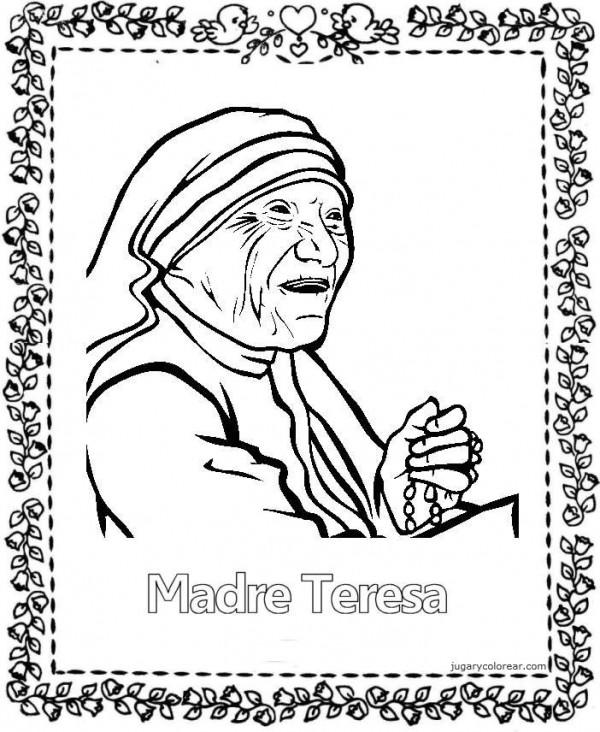 Dibujos para pintar de la Madre Teresa de Calcuta  Colorear imgenes