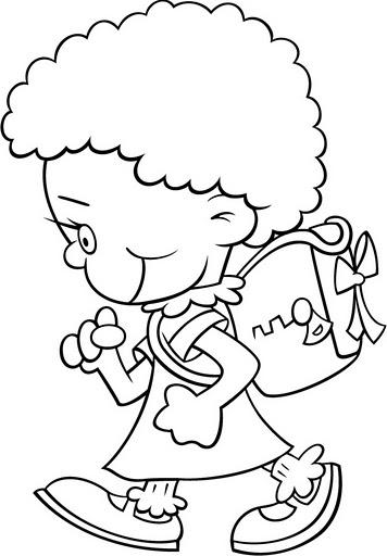 Dibujos De Nios Yendo A La Escuela Para Colorear