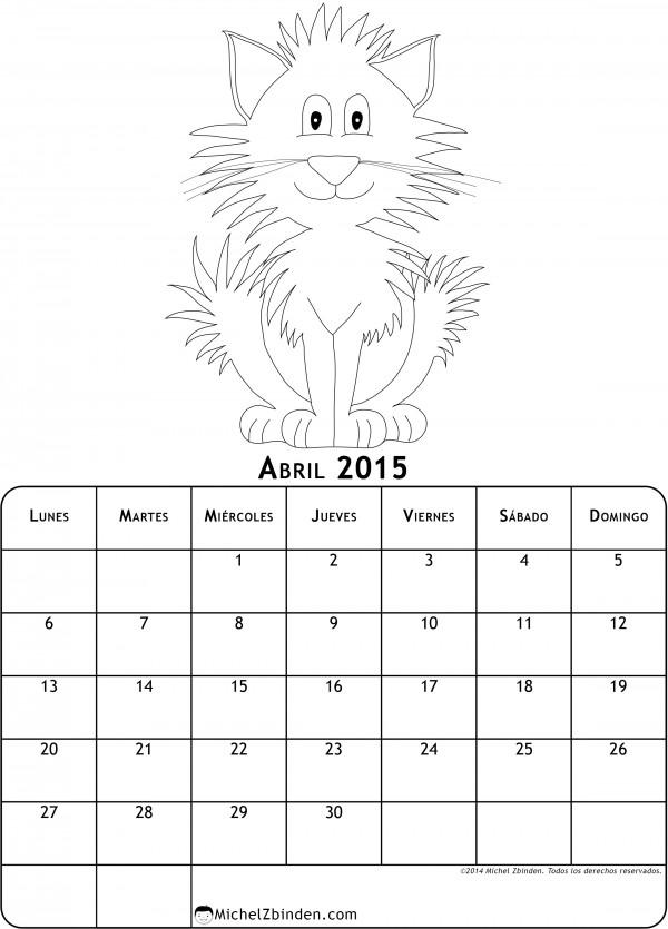 Calendarios Abril 2015 con dibujos para pintar  Colorear