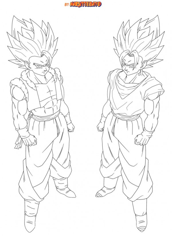 Dibujos para colorear goku black. Dibujo de Goku y Vegeta para imprimir y colorear