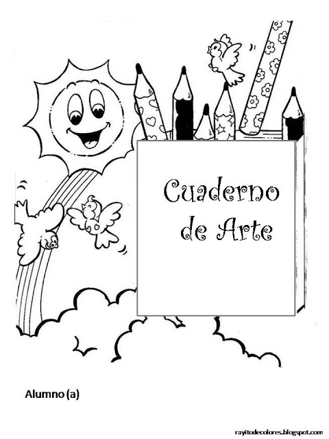 Dibujos para pintar de carátulas escolares para niños