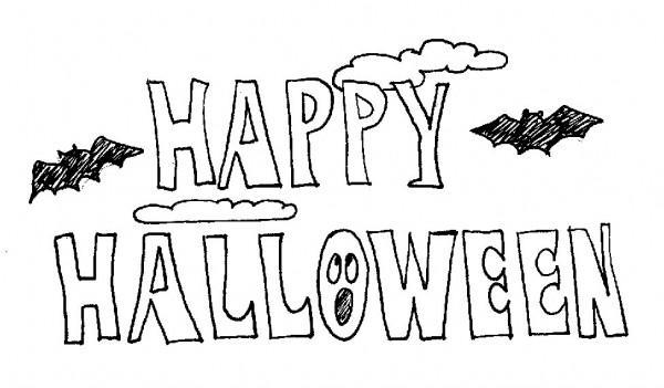 Carteles de Happy Halloween para imprimir y pintar