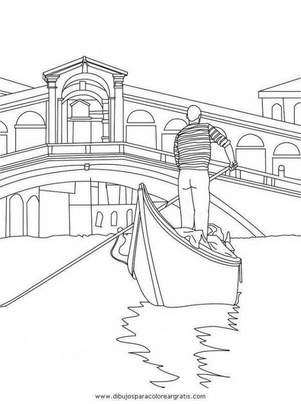 Gndolas y gondoleros de Venecia para pintar  Colorear