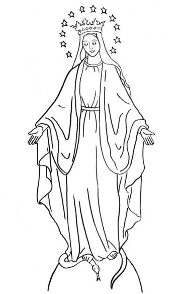 Dibujos de la Vírgen de la Medalla Milagrosa para colorear