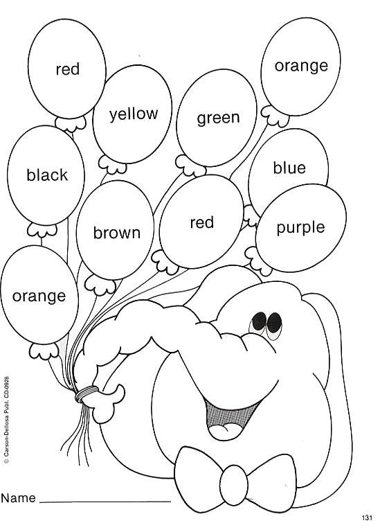 Fichas infantiles para pintar y aprender los colores en