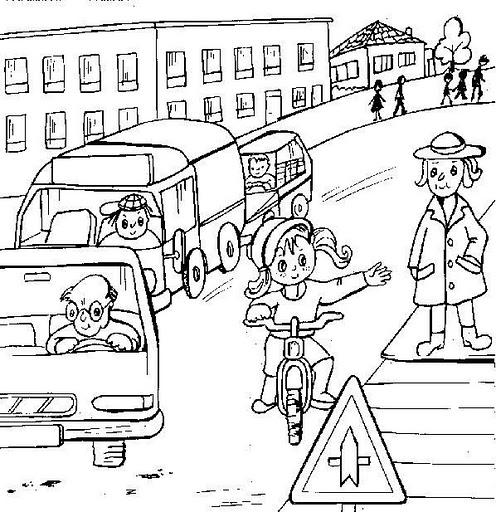 Dibujos infantiles de educación vial para pintar