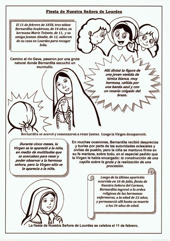 11 de febrero  Da de la Vrgen de Lourdes  Dibujos para