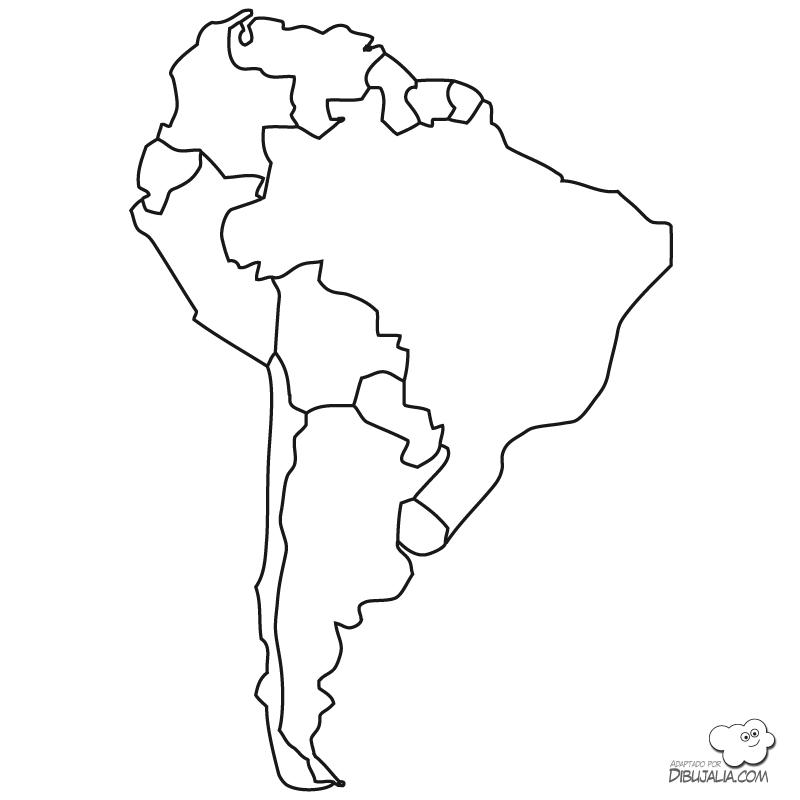 Imprimir dibujos de letras para colorear y pintar de números, letras y formas para aprender. Mapas políticos de América del Sur para colorear