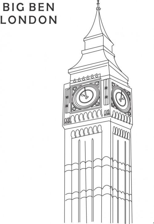 Dibujos del Big Ben de Londres para imprimir y pintar