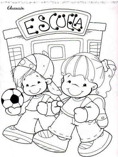 Dibujos De Ninos Ninos Animados En La Escuela Para Colorear