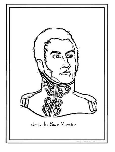 Imágenes del General José de San Martín para colorear