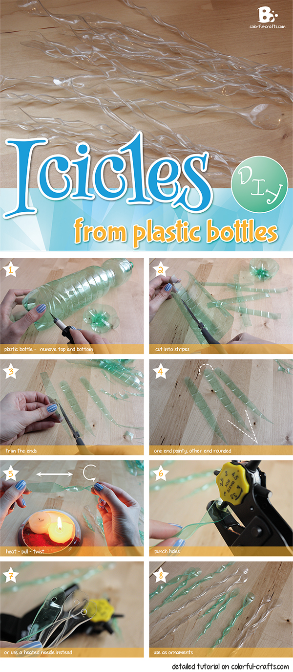 DIY icicles from plastic bottles
