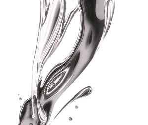 metal splashing, ripples and waves on a white background