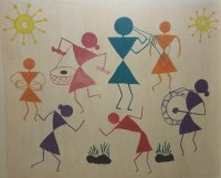 Warli Paining on Wall  Colorful Art Space