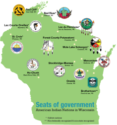 The twelve tribes of Wisconsin locations and seals (image from UW Madison School of Education)