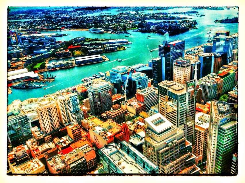 Blick vom Sydney Tower auf den Darling Harbour