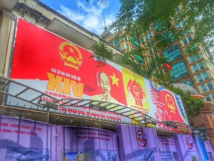 Parteiplakat in Ho Chi Minh Stadt