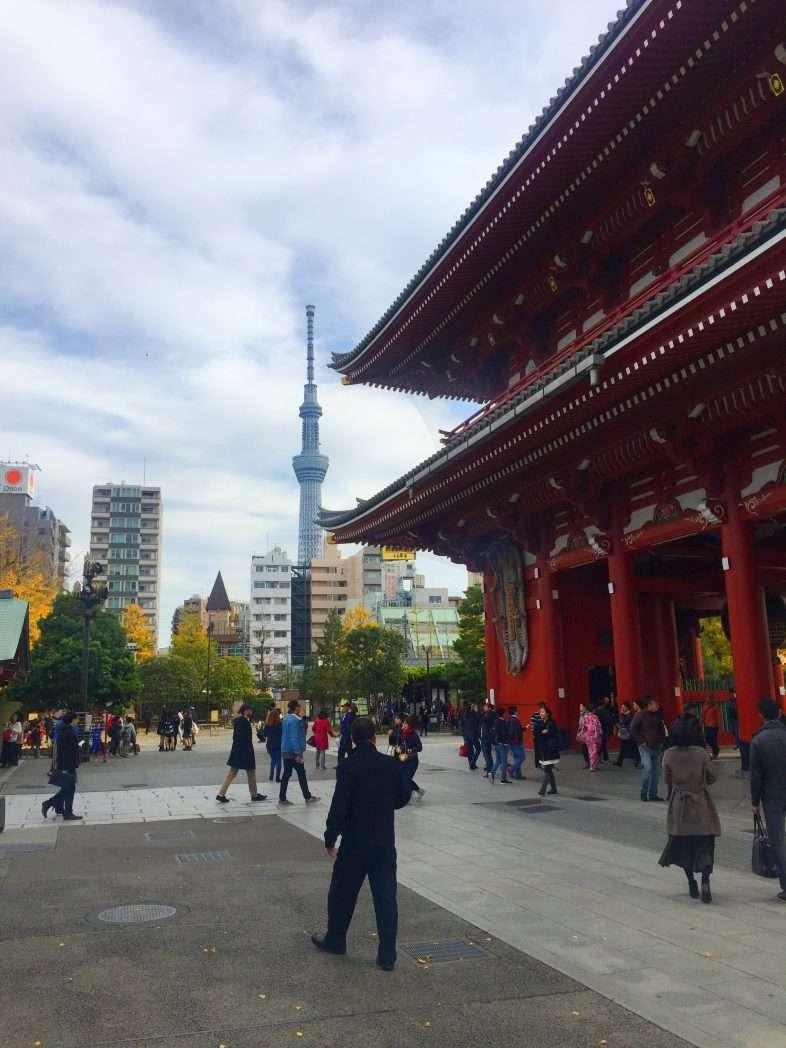 Der Turm ist von Weitem zu sehen - zum Beispiel von den Tempeln in Akasuna aus