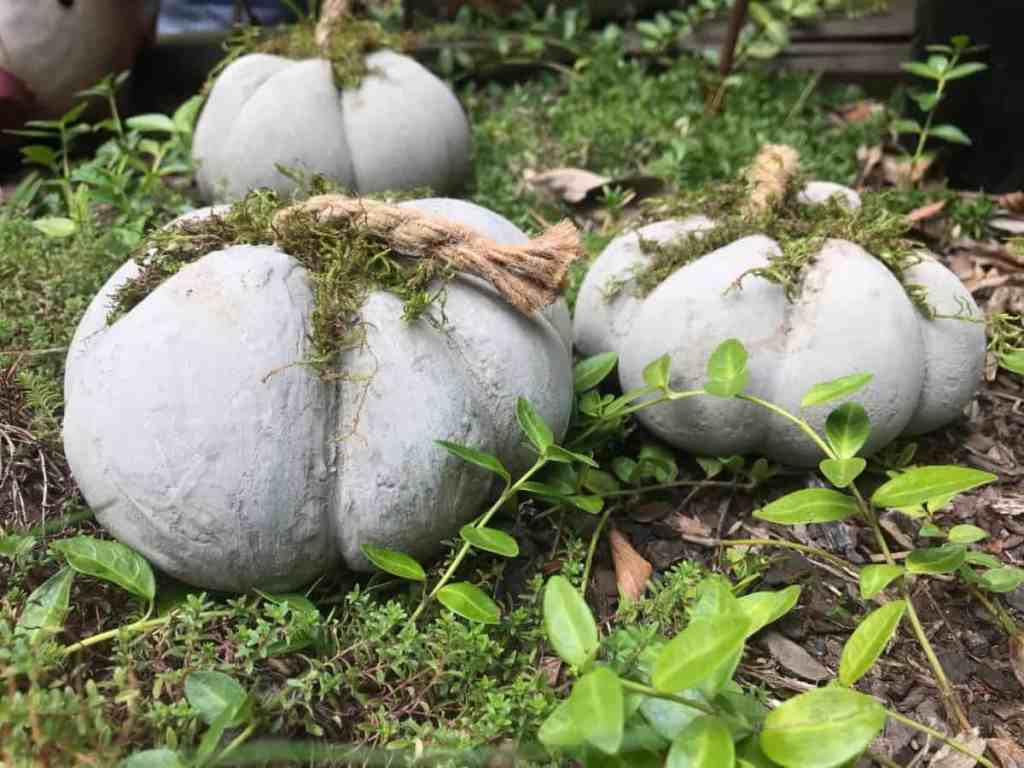 Fall decoration ideas DIY, make concrete pumpkins yourself.
