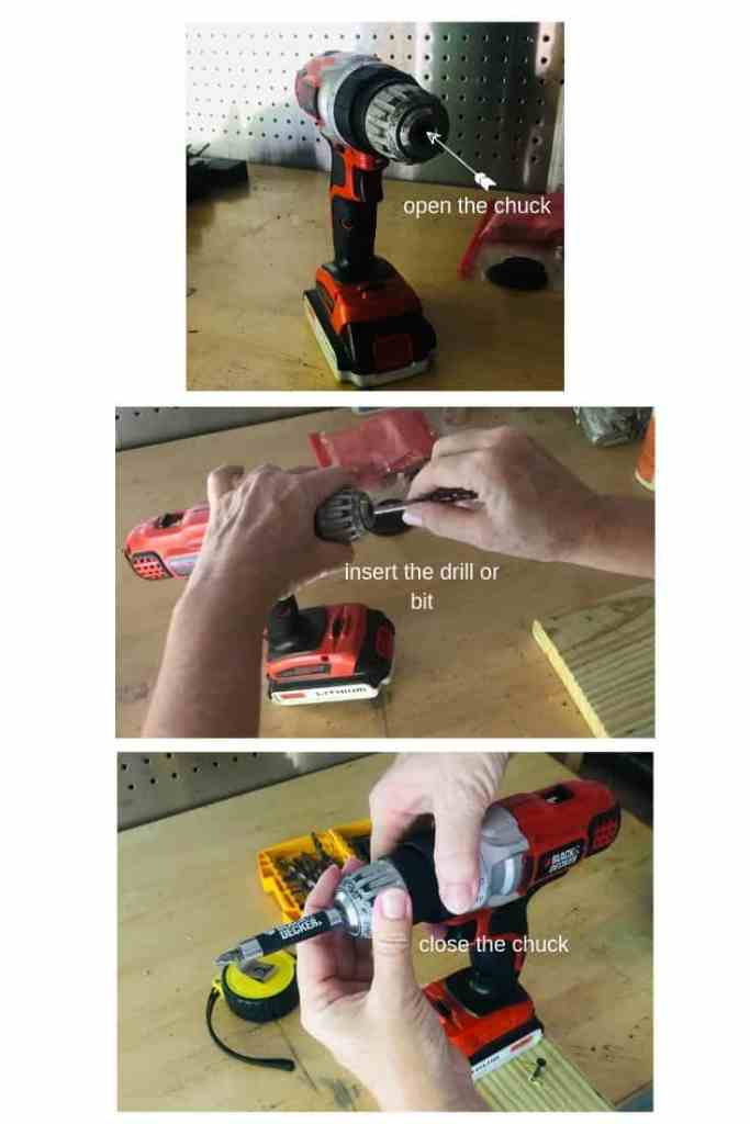 How to insert a drill into a drill driver and close it