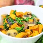 Spiced Sweet Potato Kale Mushroom Sautee