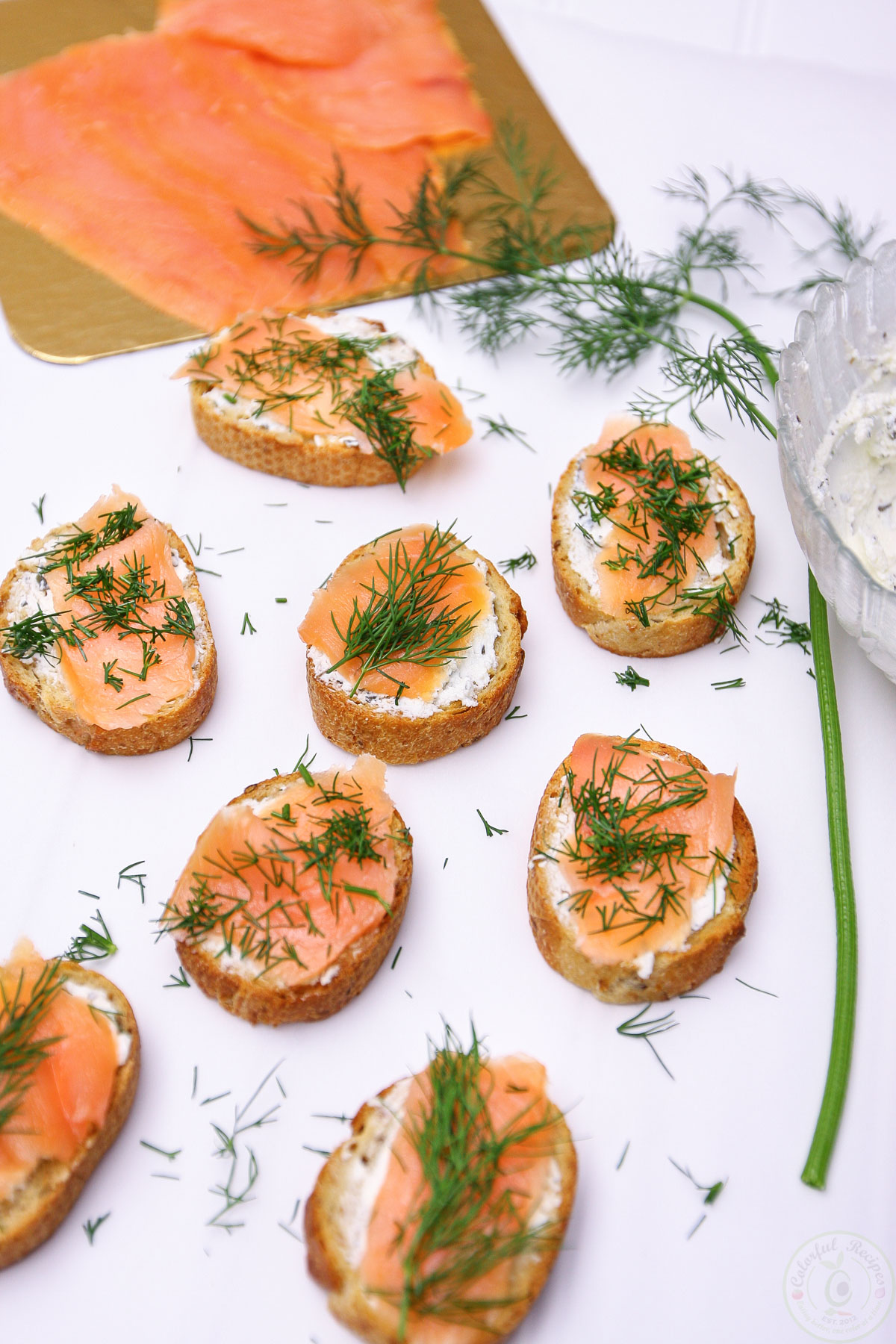 Smoked Salmon Dill Goat Cheese Baguette Bites