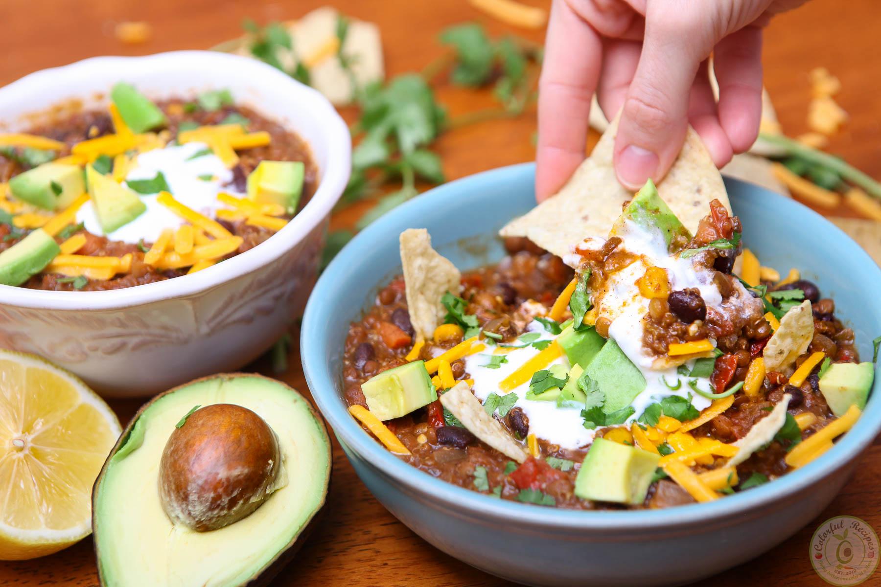 Crock Pot Black Bean Lentil Quinoa Chili Colorful Recipes