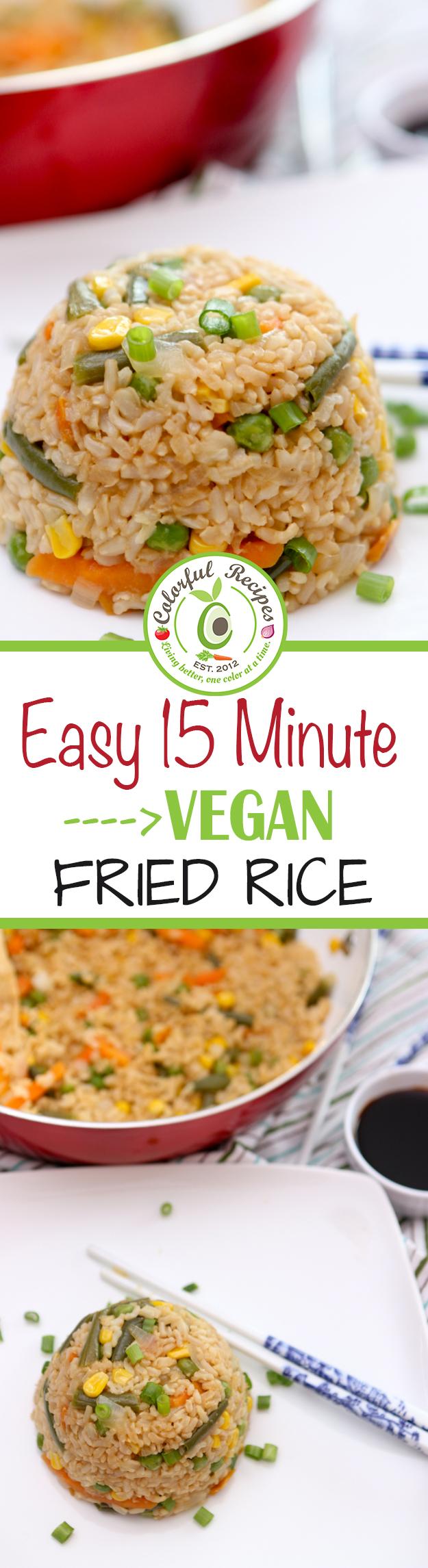 Easy 15 Minute Vegan Fried Brown Rice Pinterest