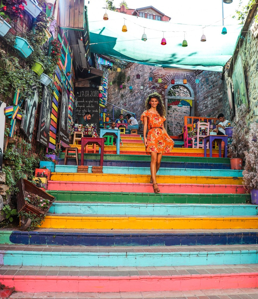 Colorful Stairs in Turkey. Balat