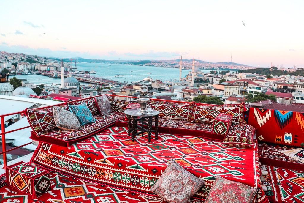 Istanbul Rooftop Terrace Sunset - Nova Santiye Cafe
