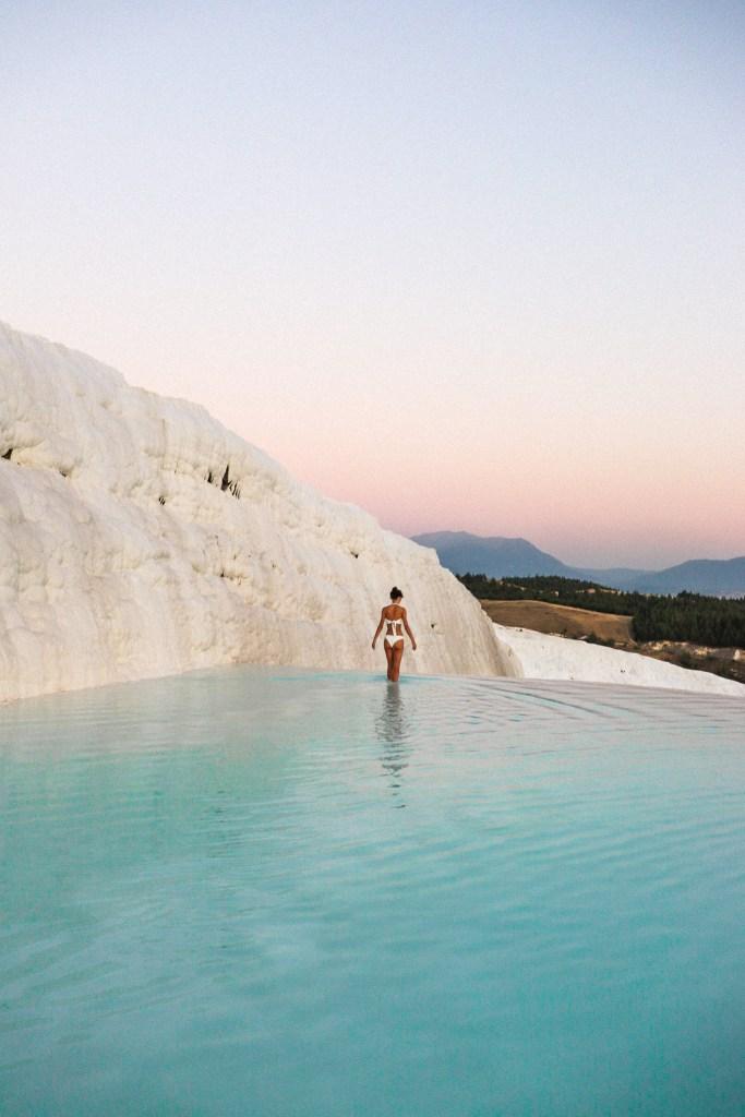 Pamukkale travertines Hierapolis Turkey Sunset