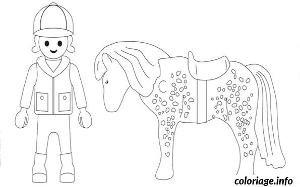 Coloriage Playmobil Cheval dessin