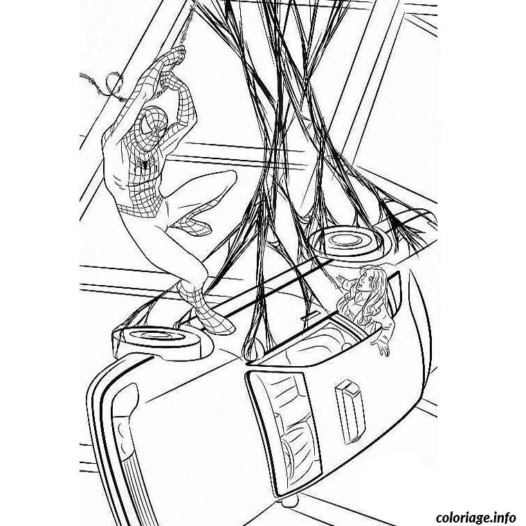 Coloriage Spiderman Capture Une Voiture dessin