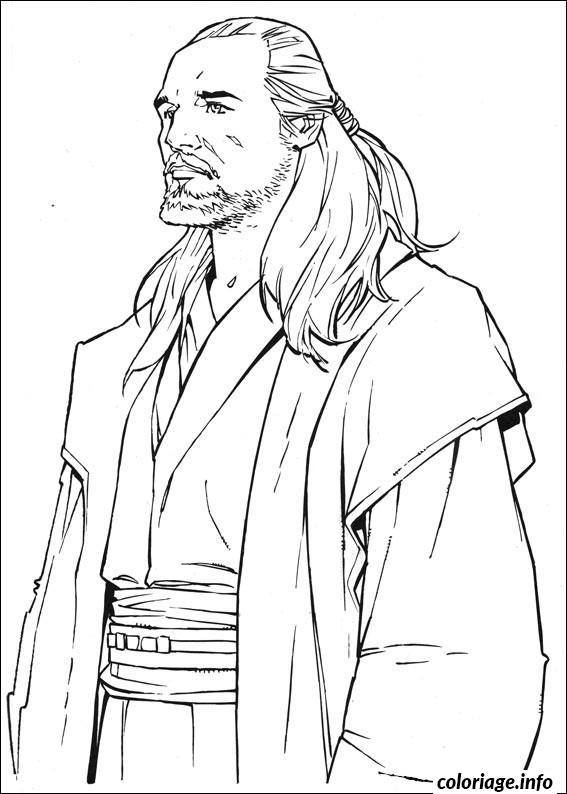 Coloriage Star Wars Qui Gon Jin dessin
