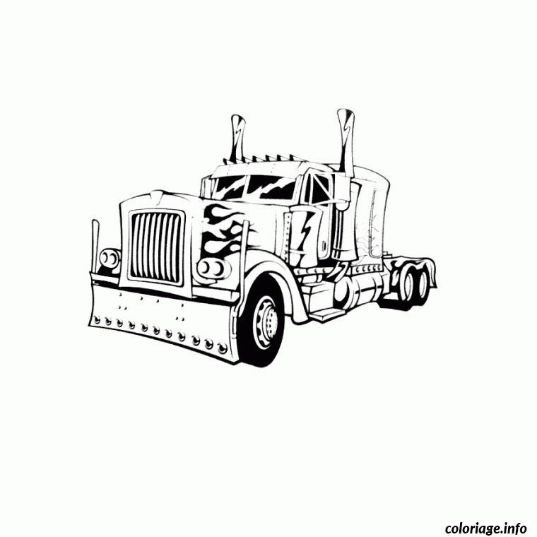 Coloriage Camion Americain De Profil dessin